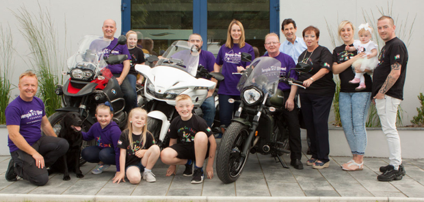Mick Gartland, Paul Piccard and Jimmy Nangle with their support team at Whitewater Bray for the launch of 24 hour Circuit of Ireland Motorbike Challenge