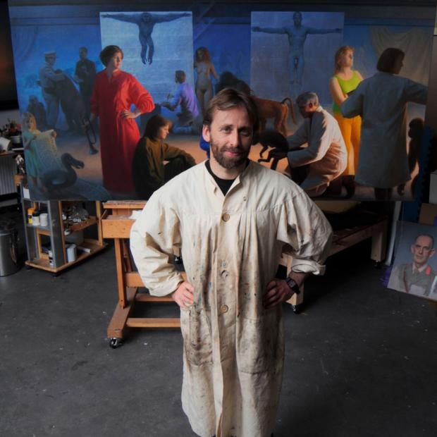 Artist Conor Walton in his studio