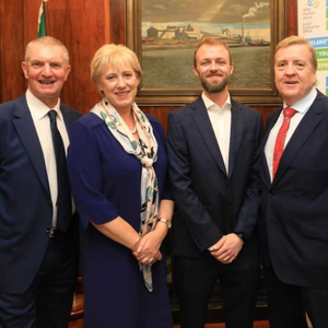 Martin Corry from Enterprise Ireland, Minister for Business, Enterprise and Innovation Heather Humphreys, Ross Lawless from Calt Dynamics, Pat Breen, Minister for Trade, Employment, Business, EU Digital Single Market and Data Protection, and Oisin Geoghegan, Chair of the network of Local Enterprise Offices
