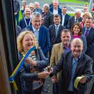 Cathaoirleach Cllr Irene Winters, Cllr Gail Dunne and Chief Librarian Brendan Martin cut the ribbon on the new mobile library for Co Wicklow
