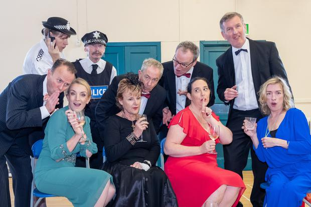 The cast of Square One Theatre Group's production of Rumours: Nick Russell, Marianne Walsh, Claire Maguire, Chris Kearney, Roy Beatty, Anne Reynolds, Grainne Troy, Noel Connolly, Dee Browne and Gavin Barrett.