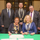 Matthias Flenkenstein, Cllr Steven Matthews, George Jones, Marion Schafer-Blake and Cathaoirleach of Wicklow County Council, Cllr Irene Winters at the signing of the renewal of the partnership pledge between Bray and Würzburg in Germany