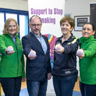 David Murray, Wicklow GAA; Mary Desmond, HSE Tobacco Health Promotion and Improvement; Brian Carthy, Co Wicklow Partnership; Frances Stephenson, Wicklow GAA; Anne Kavanagh, Co Wicklow Partnership; and Fergal Fox, HSE Health Promotion Improvement Manager, at the launch of the Wicklow GAA smoke-free policy at the County Grounds in Aughrim