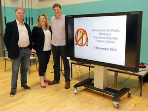 Basil Miller, Liz Dillon and Philip Moyles at the meeting on Monday evening