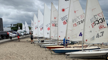 Boats lined up for Bray Sailing Club's 'Back to Sailing' regatta on Saturday. Photo: Eamon Farrell