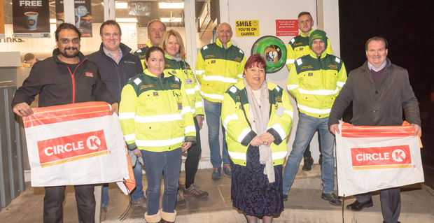 Members of Greystones First Responders and their supporters unveiling a defibrillator at Circle K in Rathdown in January