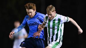 Stephen Kinsella of Bray Wanderers in action against Paul Doyle of UCD during the SSE Airtricity League First Division match between UCD and Bray Wanderers at the UCD Bowl. Photo: Sportsfile