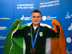 Regan Buckley in Minsk last year after winning a bronze medal at the Minsk 2019 2nd European Games. Photo by Seb Daly/Sportsfile