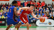 Bray's Lorcan Murphy of Griffith College Templeogue in action against Hillary Netsiyanwa of DBS Eanna during the Hula Hoops Pat Duffy National Cup final between DBS Éanna and Griffith College Templeogue at the National Basketball Arena in Tallaght, Dublin. Photo by Brendan Moran/Sportsfile