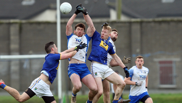Wicklow's Mark Kenny and David Devereux in action in Aughrim