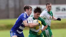 Johnny Keogh comes under serious pressure during the SFC meeting of Baltinglass and Blessington in Aughrim
