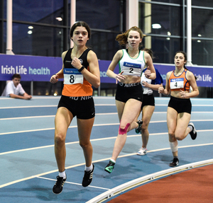 Grainne O'Sullivan of Bray Runners A.C. competing in the 800m event in the Youth Women's combined events in Athlone in January