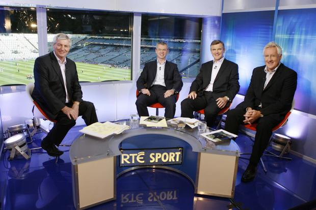 RTÉ's The Sunday Game Live presenter Michael Lyster with panellists Joe Brolly, Colm O'Rourke and Pat Spillane at Croke Park.