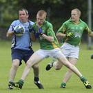 Shilleagh's Stephen Byrne is challenged by Kilcoole's Jack Belhemey during the JAFC in Pearse's park, Arklow
