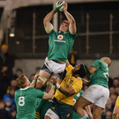 Josh van der Flier of Ireland claims a high ball ahead of Henry Speight of Australia during the Autumn International match between Ireland and Australia at the Aviva Stadium in Dublin