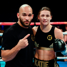 Katie celebrates with trainer Ross Enamait