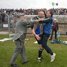 Will Wicklow GAA followers ever forget this photo? Highly unlikely. Bray's John Henderson had just guided his beloved Bray to the Senior hurling crown and when that final whistle sounded he turned to grab the nearest human being and share his joy and love and lo and behold who would that human being be only linesman on the day and well known referee John Keenan. It was a match made in heaven some might say. Otherwise might use the phrase so popular among the young folks these days - 'awky momo!' Photo: Garry O'Neill
