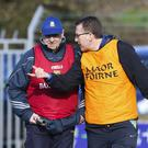 Michael Neary makes a point to Wicklow manager Seamus Murphy