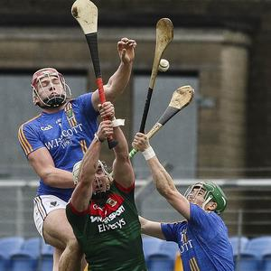 Wicklow's Padraig Doyle flies above Mayo's Cathal Freeman