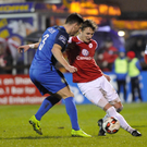 Bray's John Sullivan in action against Sligo Rovers last weekend