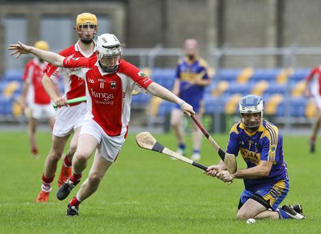 Glenealy's Jonathan O'Neill and Carnew's Mark Collins compete for the ball during the IHC in Joule park, Aughrim. Picture: Garry O'Neill