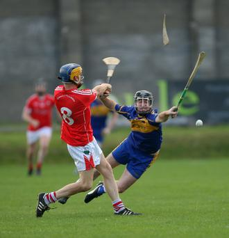 Seanie Kinsella has his hurl broken after blocking Jonathan O'Neill's shot during the SHC clash in Joule Park, Aughrim
