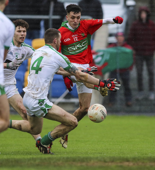Rathnew's Graham Merrigan blasts his shot across the Moorefield goal during the Leinster Senior Club football championship semi-final in Joule Park, Aughrim. Picture: Garry O'Neill