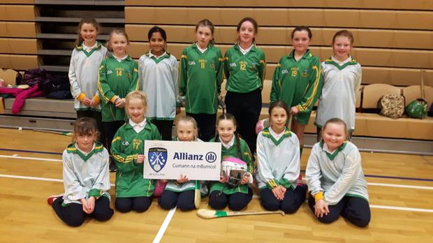 The Kilcoole NS team at the Indoor Camógs tournament in Shoreline, Greystones