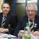 New Wicklow GAA Chairman Martin Fitzgerald (left) with outgoing chairman Martin Coleman at County Convention on Monday night.