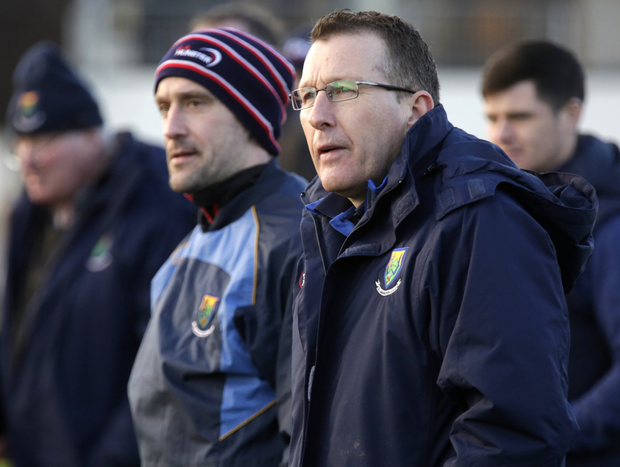 Wicklow Senior hurling coach Michael Neary and selector Timmy Collins can only watch as Wexford run amok in Ashford