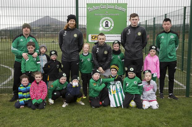 Patsy Carr Junior Academy players with their coach Robert Plunkett, Jordan Conroy and Bray Wanderers players Hugh Douglas, Dylan Hayes, and Sean Heaney at the partnership announcement between Enniskerry Youth Club and Bray Wanderers. Photo: Barbara Flynn