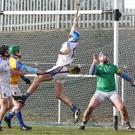 Eoin McCormack scoring the 'disallowed goal' in the Longford v Wicklow Kehoe Cup final at Pearse Park, Longford