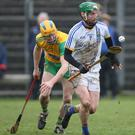 Wicklow's John Henderson bursts out of his defence last Sunday.