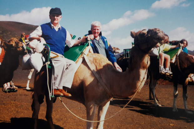 Getting the hump! Jackie Napier and Mick Hagan enjoying some exotic activities during the Wicklow team holiday to Lanzarote