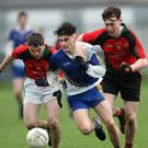 You little ripper! Coláiste Bhríde's Cillian Gilligan heads for the St Kevin's goal