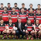The Wicklow RFC team ahead of the match against Tullow RFC. Photo by Ramsey Cardy/Sportsfile
