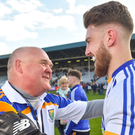Wicklow manager John Evans with goalkeeper Mark Jackson after the final whistle of the Leinster SFC clash with Offaly on Sunday last.