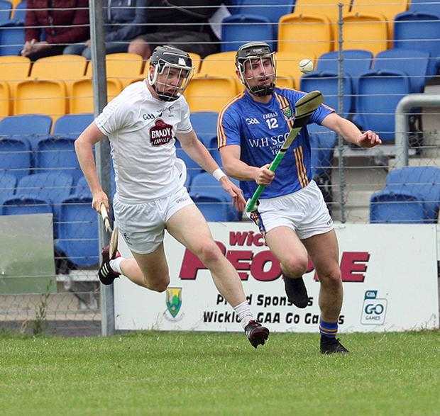Wicklow's Mikey Lee on the attack against Kildare in Joule Park Aughrim. Photos: Joe Byrne