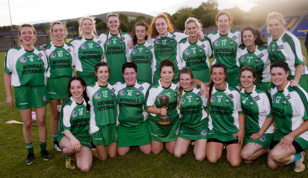 The victorious Avondale camogie team who defeated Kiltegan in the Intermediate league final in Aughrim on Monday evening. Photos: Joe Byrne