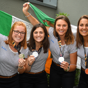 Ireland players, from left, Zoe Wilson, Roisin Upton, Deirdre Duke and Lena Tice during the Irish Hockey Squad homecoming from the Women's Hockey World Cup at Dublin Airport. Photo by Eoin Noonan/Sportsfile