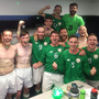 The Irish CP soccer team celebrate winning bronze at the European Championships last week. There were four Wicklow men on the squad: Gary Messett (captain), Ryan Nolan, Sam Carroll and Darragh Snell. Photo credit: FAI