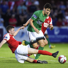 Darragh Noone of Bray Wanderers in action against James Doona of St Patrick's Athletic during the SSE Airtricity League Premier Division match at Richmond Park in Dublin
