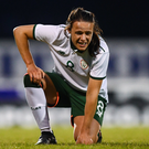 Aine O'Gorman during the 2019 FIFA Women's World Cup Qualifier Group 3 match against Northern Ireland in Lurgan. Photo by Stephen McCarthy/Sportsfile