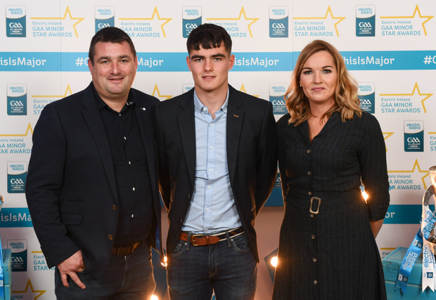 Wicklow Minor footballer Eoin Darcy with his parents Kevin Darcy and Andreina O'Brien Darcy on their arrival at the 2018 Electric Ireland Minor Star Awards. Photo by Stephen McCarthy/Sportsfile