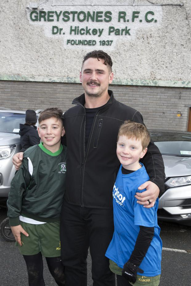 Former Greystones RFC player and current USA Eagles panel member Dylan Fawsitt with Oskar Riordan and Shane Collins at Dr Hickey Park on Sunday