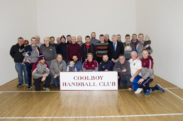 Members of Coolboy Handball Club and supporters at the local alley on Monday night last to celebrate the All-Ireland Senor Club Championship victory