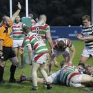 Chris Simmonds has his try awarded during the AIL Division 2B clash with Sunday's Well in Dr Hickey Park last weekend.
