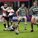Greystones RFC's Andrew Kealy, Jamie Dempsey and Chris Simmonds in action against Old Wesley