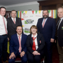 Pictured at the launch of Kiltegan GAA Club's construction development project on Monday were: Back: David Real, Damian Byrne (Chairman), Collie Doyle (secretary), and Andy O' Brien. Seated: Gerry and Paula Boland (secretary of the development commitee). Photo: Joe Byrne