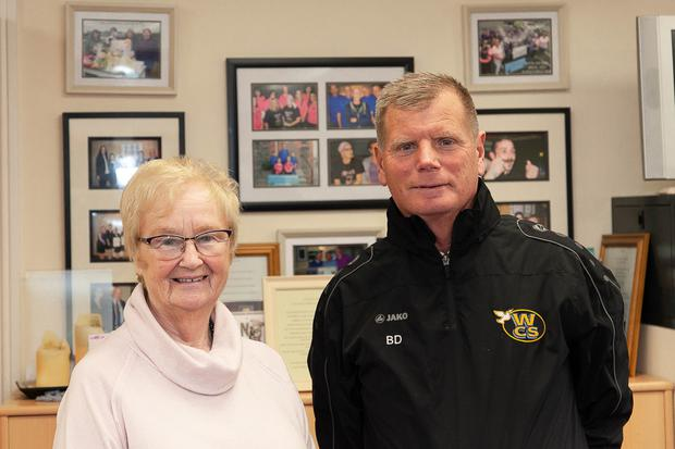 Eileen Earls from Wicklow Cancer Support and Tony 'Butch' Doran ahead of the annual Easter soccer blitz. Photo: Paul Messitt